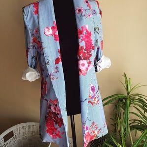 One-Button Floral Print Blazer